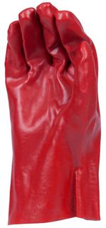 Red PVC Single Dip with Knitted Wrist. Length 27cms