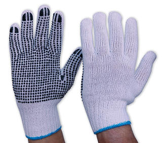 Gloves Poly/Cotton Knit Black PVC Dots on Palm
