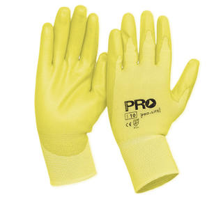 ProLite Gloves Hi-Vis Yellow Polyurethane (PU) coated palm