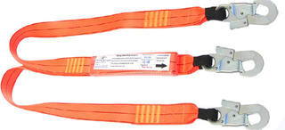 1.5m double leg shock absorbing lanyard with 3 double action hooks