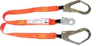 1.5m double leg shock absorbing lanyard with 1 double action hook and 2 scaffolding hooks