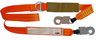 1.5m shock absorbing lanyard with 2 double action hooks and tie back D ring