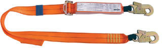 2m adjustable shock absorbing lanyard with 2 double action hooks