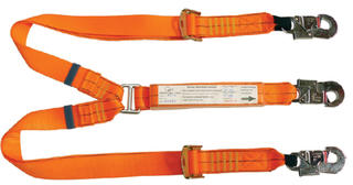 2m adjustable double leg shock absorbing lanyard with 3 double action hooks