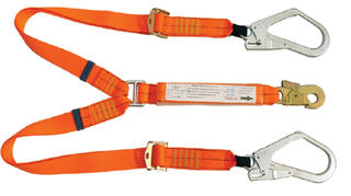 2m adjustable double leg shock absorbing lanyard with 1 double action hook and 2 scaffolding hooks