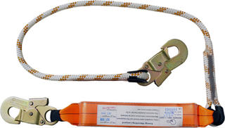 2m shock absorbing lanyard with 2 double action hooks