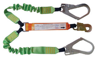 Lanyard Elasticated Double Leg 2m - 1 Double Action hook and twin scaffolding hooks