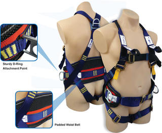 Full body harness padded waist belt large work positioning D rings SBE5
