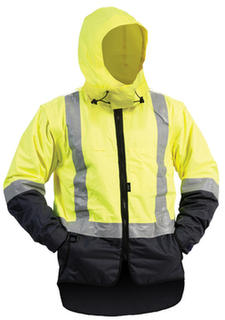 Bison Stamina lined Vest With Hood Rainwear Yellow Navy