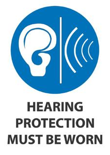 Hearing protection must be worn 340x240mm