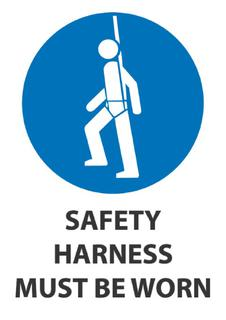 Safety Harness Must Be Worn 340x240mm