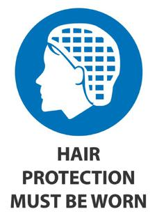 Hair Protection Must Be Worn 340x240mm