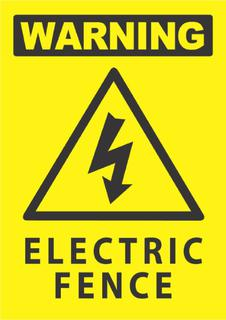 Warning-Electric Fence 340x240mm