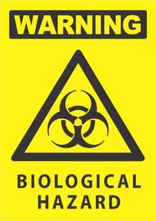 Warning- Biological Hazard 340x240mm