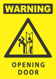 Warning-Opening Door 340x240mm