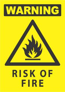 Warning-Risk Of Fire 340x240mm