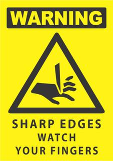 Warning-Sharp Edges 340x240mm