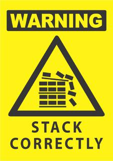 Warning-Stack Correctly 340x240mm