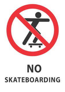 No Skateboarding 340x240mm