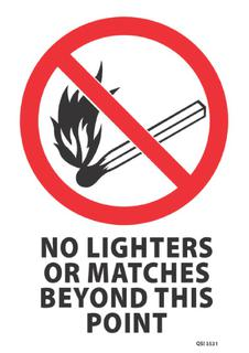 No Lighters Matches etc 340x240mm