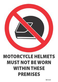No Helmets to be Worn 340x240mm