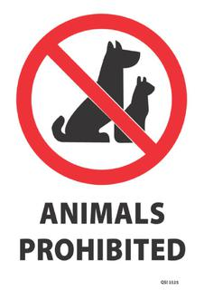 Animals Prohibited 340x240mm
