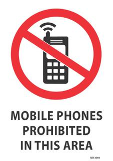 Mobile Phones Prohibited 340x240mm
