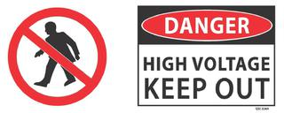 Danger High Voltage Keep Out 340x120mm