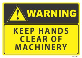 Warning Keep Hands Clear 340x240mm