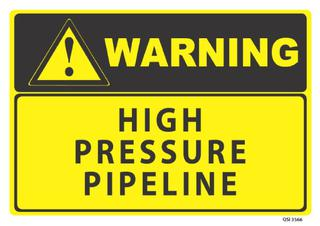 Warning High Pressure Pipeline 340x240mm
