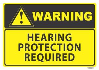 Warning Hearing Protection Req 340x240mm