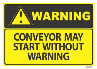 Warning Conveyour May Start 340x240mm