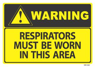 Warning Respirators must be worn 340x240mm
