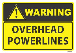 Warning Overhead Powerlines 340x240mm