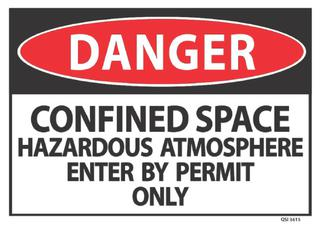 Danger Confined Space Haz Atmosphere 340x240mm