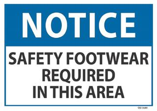 Notice Safety Footwear Required 240x340mm