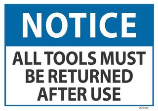 Notice All Tools Must be Returned.. 240x340mm
