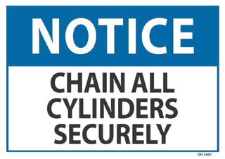 Notice Chain All Cylinders Securely 240x340mm
