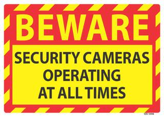 Beware Security Cameras 240x240mm