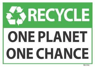Recycle One Planet One Chance 340x240mm
