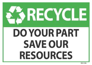 Recycle Save our Resources 340x240mm