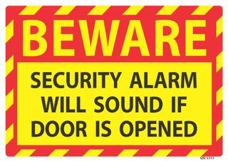 Beware Security Alarm Will Sound 240x240mm