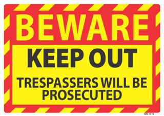 Beware Keep Out 340x240mm