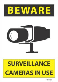 Beware Surveillance Cameras in Use 340x240mm