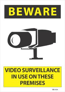 Beware Video Surveillance in Use... 340x240mm