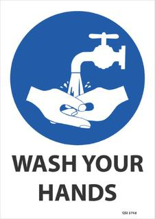 Wash your hands (blue) 340x240mm