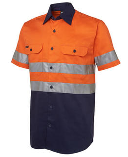 Hi Vis (D+N) Short Sleeve 190G Shirt Orange Navy