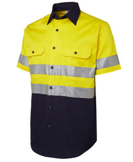 Hi Vis (D+N) Short Sleeve 190G Shirt Yellow Navy