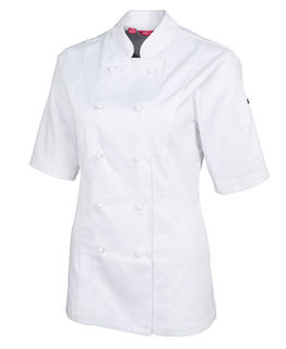 Ladies Short Sleeve Vented Chefs Jacket White