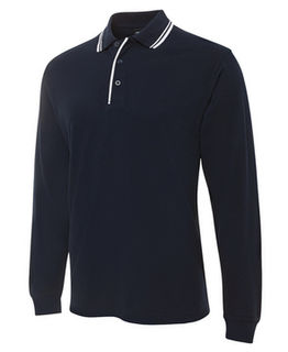 Long Sleeve Contrast Polo Navy/White